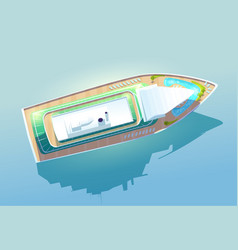 luxury cruise liner passenger ship top view vector image
