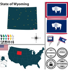 Map of Wyoming vector