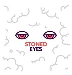 Marijuana stoned eyes on smoke clouds background vector