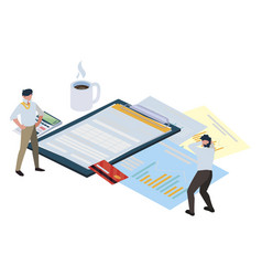 Mini business people with clipboard and set office vector