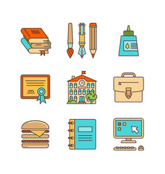 minimal lineart flat education iconset vector image
