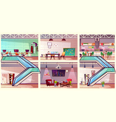 modern co working office interiors cartoon vector image