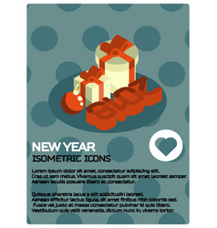new year isometric poster vector image