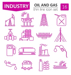 Oil and gas industry icon set Thin line icon vector image
