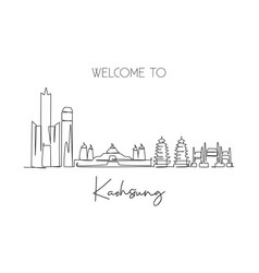 one continuous line drawing kaohsiung city vector image