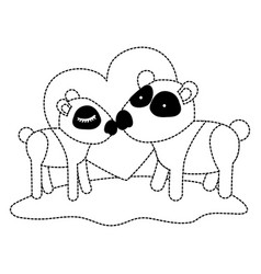 pandas couple over grass in black dotted contour vector image