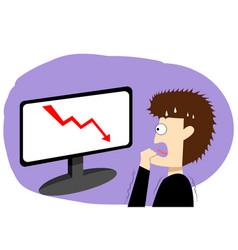 Panic businessman in stock market art vector