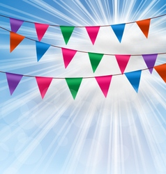 Party Background with Buntings Flags Garlands vector image