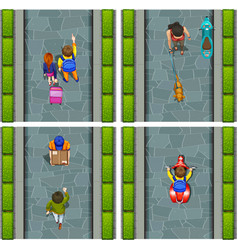 People activity at street aerial view vector