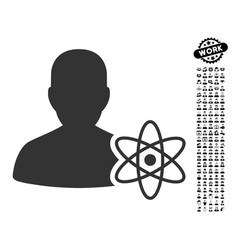 Physicist science icon with work bonus vector