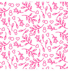 pink line floral 8 march seamless pattern vector image