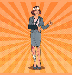 Pop art injured business woman smiling vector
