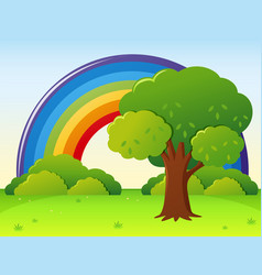 Rainbow field with tree in park vector
