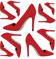 Red shoes pattern vector