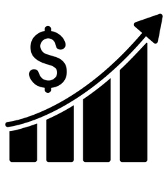 Sales Growth Bar Chart Flat Icon vector image