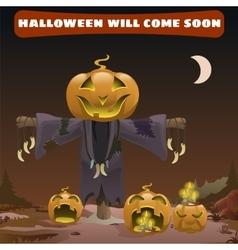 Scarecrow smile head pumpkin vector