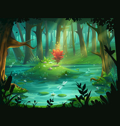 scarlet flower on an island in a swamp in the vector image