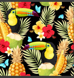 Seamless pattern with toucan and fruits vector