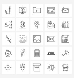 Set 25 simple line icons for web and print vector
