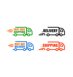 set icon car delivery banner with text next day vector image