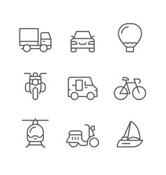 Set line icons of transport vector