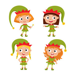 set of cute little christmas girls elf smiling vector image