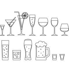 Set of full goblets vector image