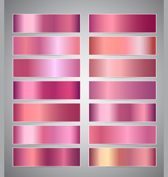 set of rose gold or shiny pink gradient banners vector image