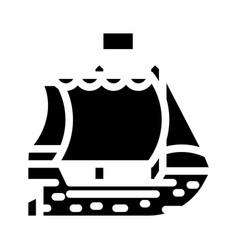Ship pirate glyph icon vector