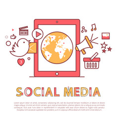 social media poster and text vector image