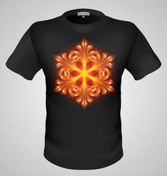 T shirts black fire print man 12 vector