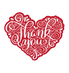 thank you hand drawn text in heart frame trendy vector image