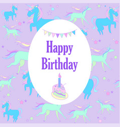 Unicorn holiday card with stars and piece of cake vector