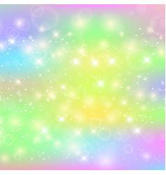 unicorn square background with rainbow mesh vector image