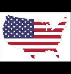 united states america map with waving flag vector image
