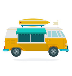 van for travel flat material design isolated vector image