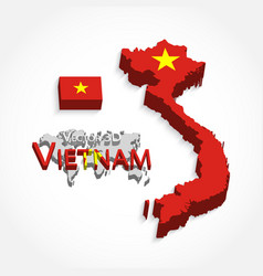 Vietnam 3d flag and map vector