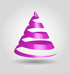 violet glossy ribbon in a shape of christmas tree vector image