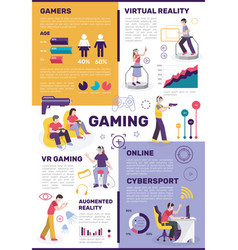 Vr gaming cybersport infographics vector