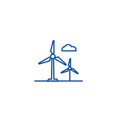 wind turbine line icon concept wind turbine flat vector image