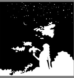Young girl silhouette with a bird on background vector