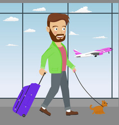 Young man with luggage and dog in airport vector