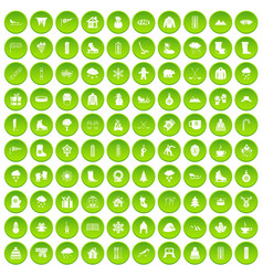 100 wine icons set green circle vector