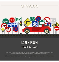 Cityscape graphic template Modern city Tr vector image