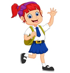 Cute girl in uniform waving hand vector image vector image