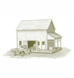 woodcut loading dock vector image