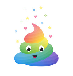 colorful funny rainbow poop cute excrement of vector image