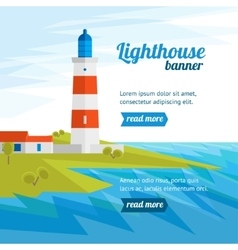 Lighthouse Banner Flat Design Style vector image vector image