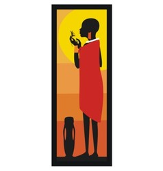 Masaj woman standing against african sunset- vector