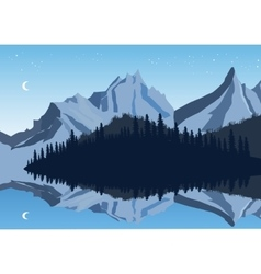 Mountains and sky reflection in a lake with forest vector image vector image